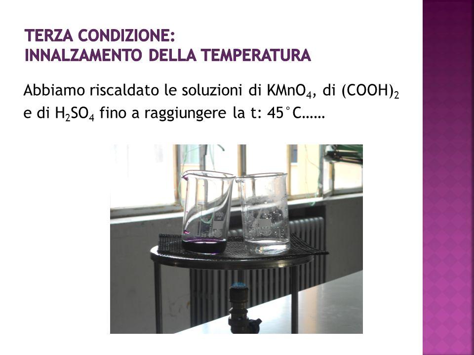 Abbiamo riscaldato le soluzioni di KMnO 4, di (COOH) 2 e di H 2 SO 4 fino a raggiungere la t: 45°C……