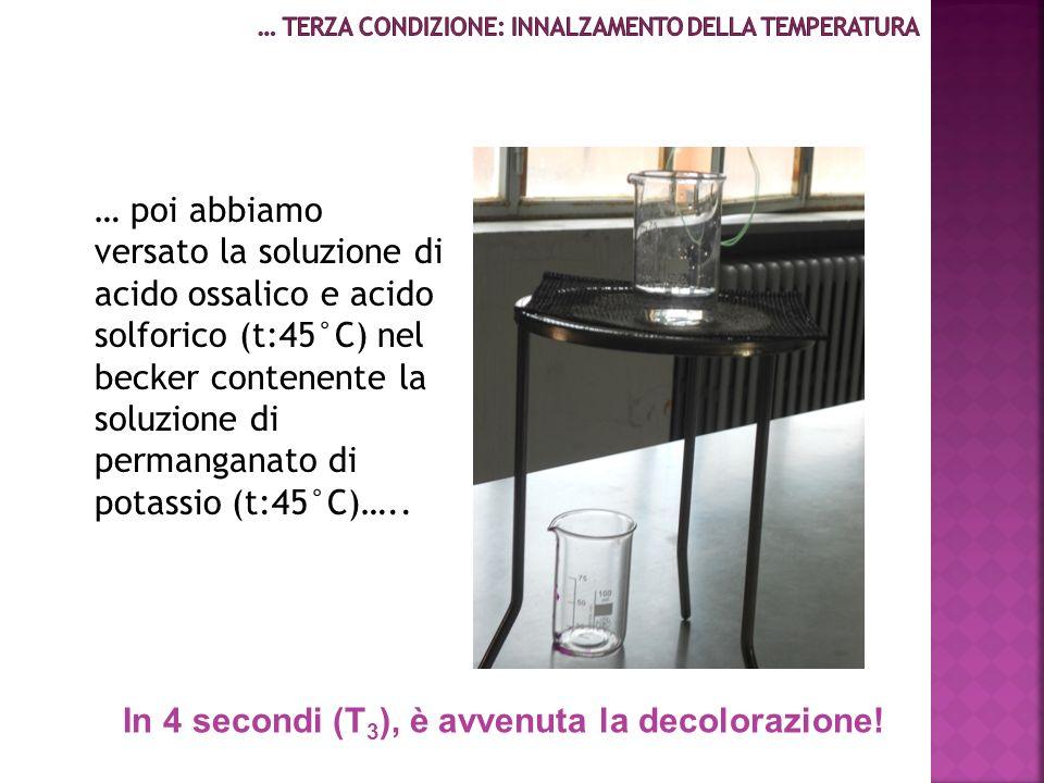 … poi abbiamo versato la soluzione di acido ossalico e acido solforico (t:45°C) nel becker contenente la soluzione di permanganato di potassio (t:45°C