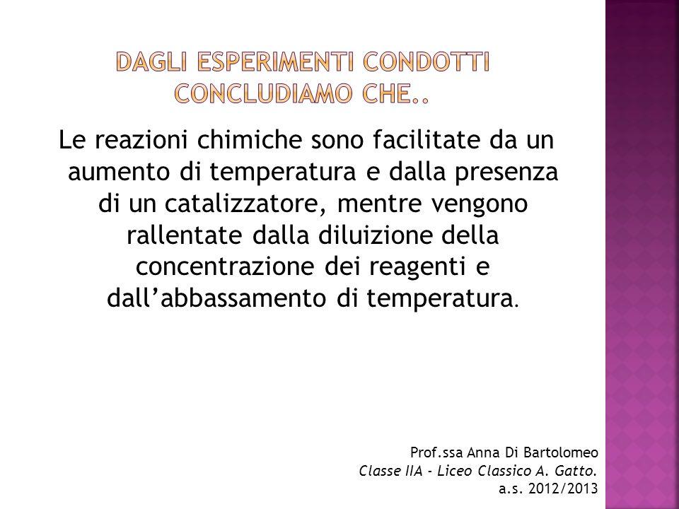 Le reazioni chimiche sono facilitate da un aumento di temperatura e dalla presenza di un catalizzatore, mentre vengono rallentate dalla diluizione del