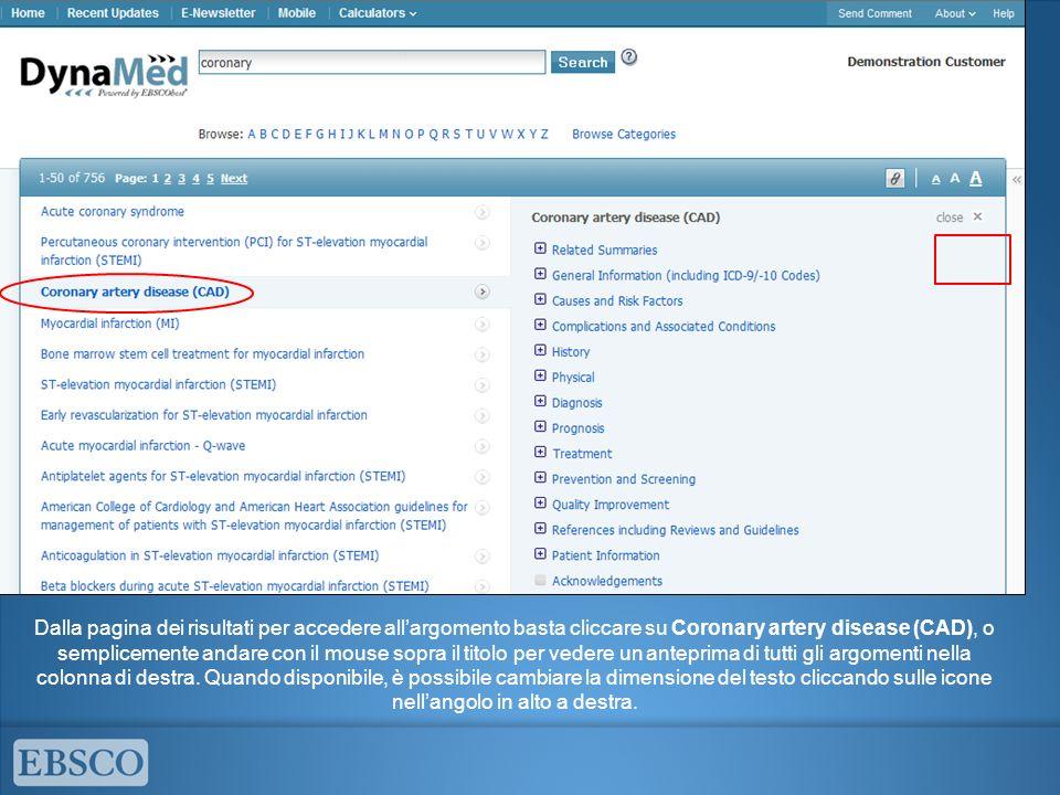 Dalla pagina dei risultati per accedere allargomento basta cliccare su Coronary artery disease (CAD), o semplicemente andare con il mouse sopra il titolo per vedere un anteprima di tutti gli argomenti nella colonna di destra.