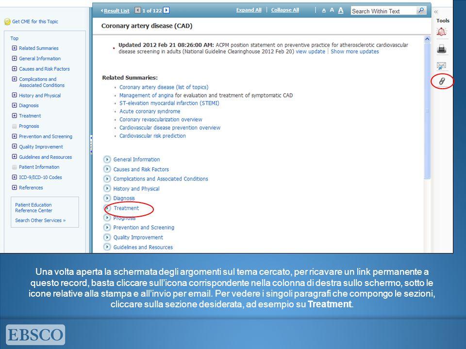 Gli argomenti disponibili per la categoria selezionata vengono visualizzati e si possono espandere per sottocategorie cliccando sullicona più.