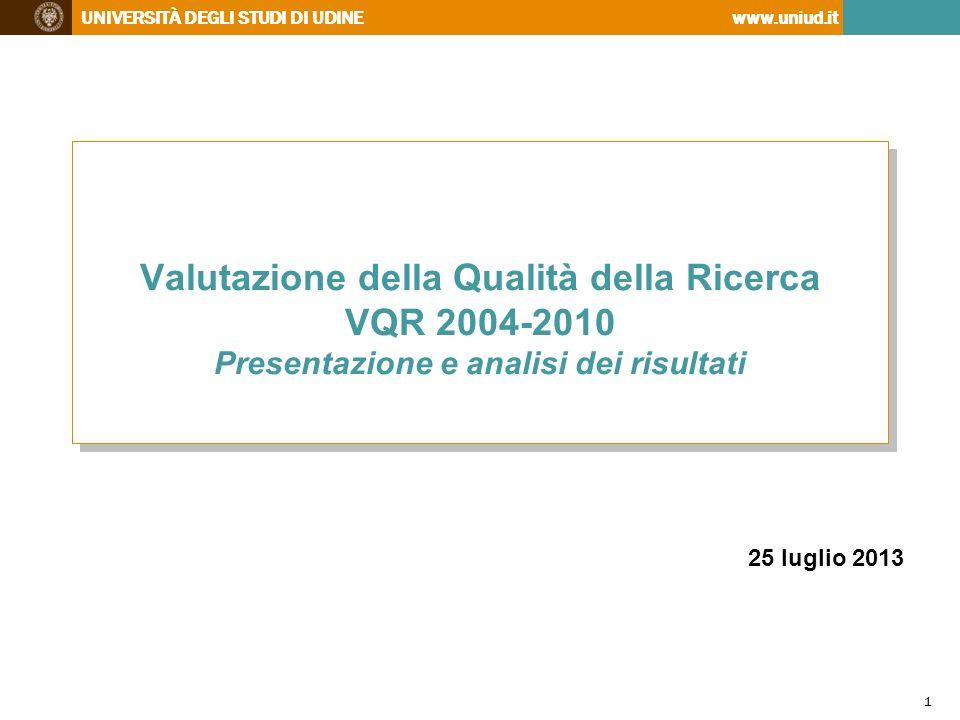 UNIVERSITÀ DEGLI STUDI DI UDINEwww.uniud.it http://www.uniud.it/ricerca/finanziamenti/valutazione/vqr/autovalutazione.pdf 22 Il rapporto del GEV di Area 10 Tab.