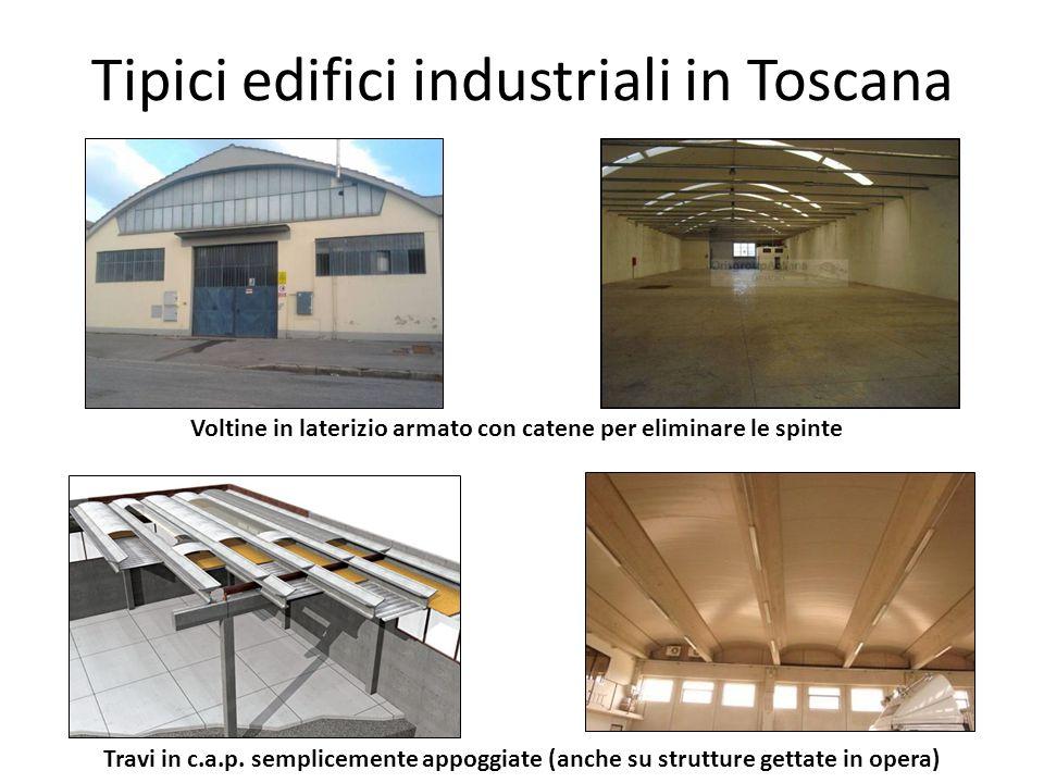 Tipici edifici industriali in Toscana Voltine in laterizio armato con catene per eliminare le spinte Travi in c.a.p. semplicemente appoggiate (anche s