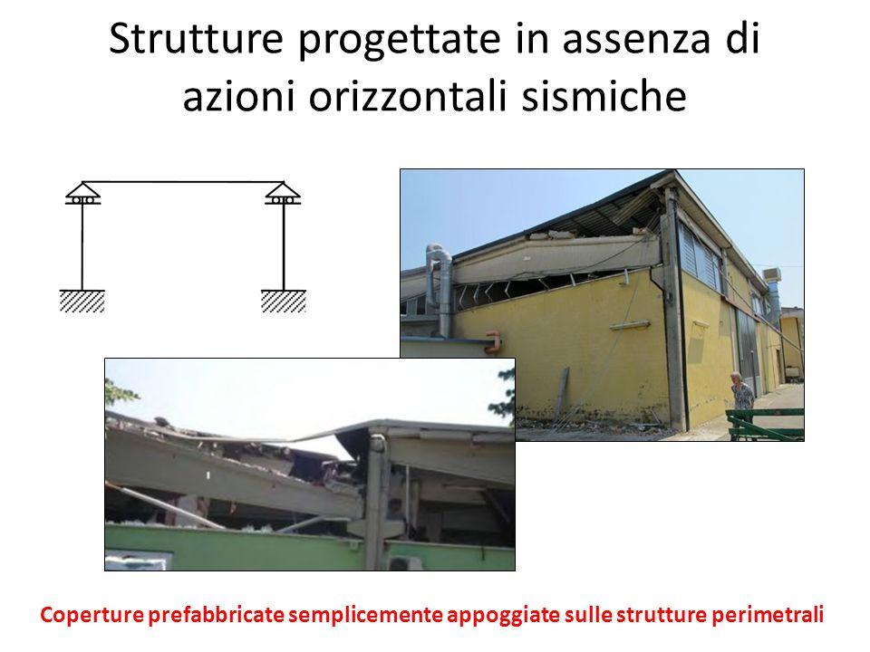 Strutture progettate in assenza di azioni orizzontali sismiche Coperture prefabbricate semplicemente appoggiate sulle strutture perimetrali