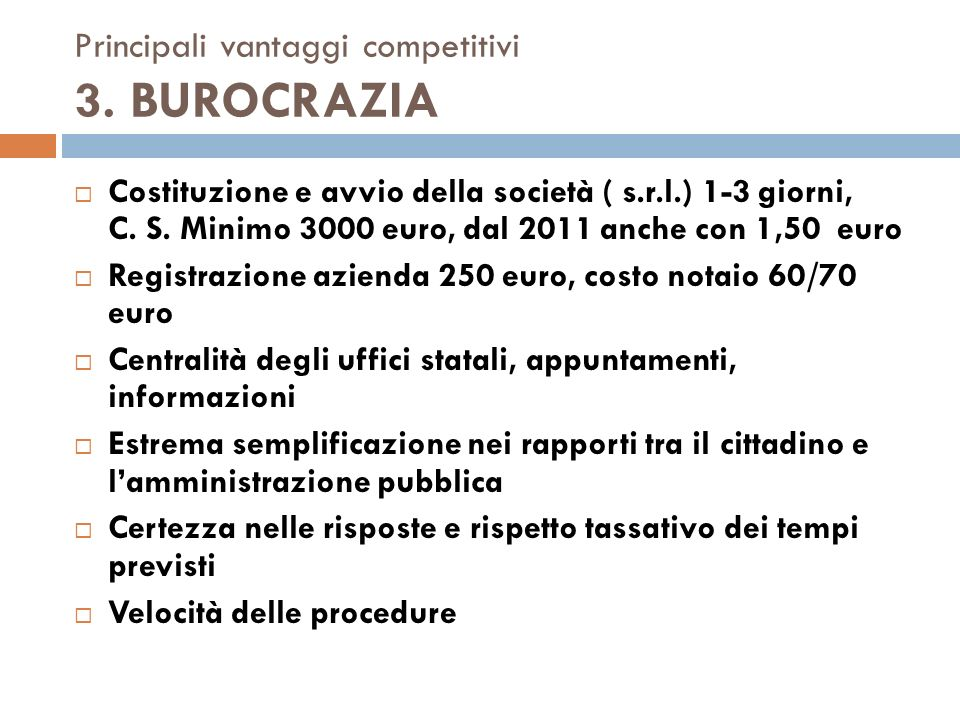 Principali vantaggi competitivi 4.