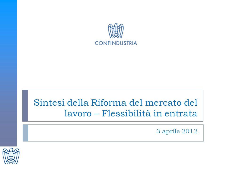 Sintesi della Riforma del mercato del lavoro – Flessibilità in entrata 3 aprile 2012