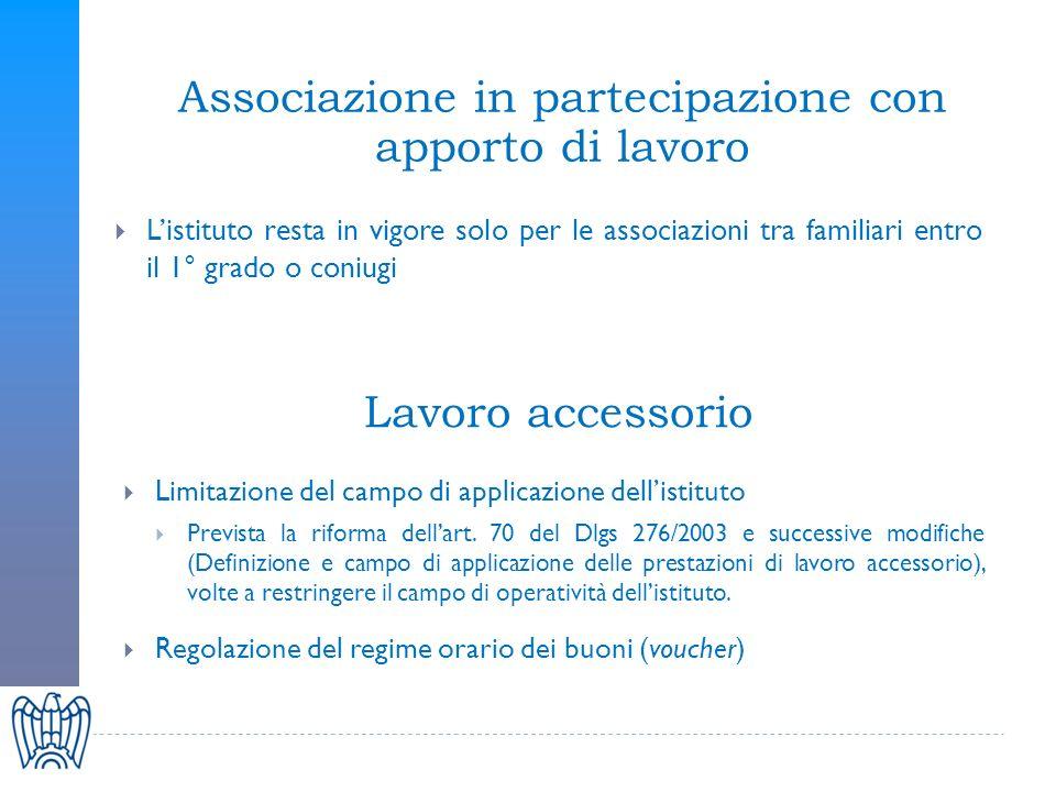Limitazione del campo di applicazione dellistituto Prevista la riforma dellart.