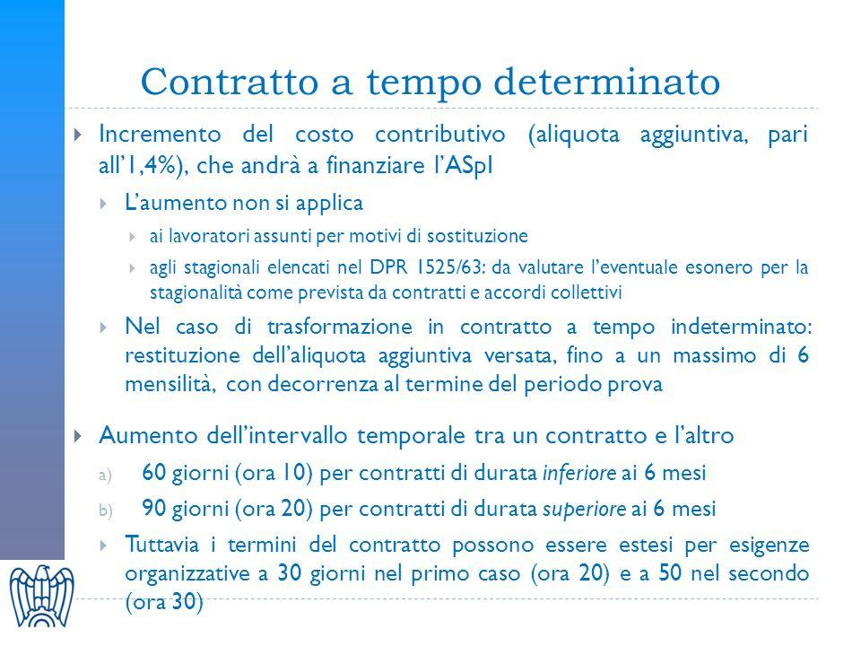 Contratto a tempo determinato Incremento del costo contributivo (aliquota aggiuntiva, pari all1,4%), che andrà a finanziare lASpI Laumento non si applica ai lavoratori assunti per motivi di sostituzione agli stagionali elencati nel DPR 1525/63: da valutare leventuale esonero per la stagionalità come prevista da contratti e accordi collettivi Nel caso di trasformazione in contratto a tempo indeterminato: restituzione dellaliquota aggiuntiva versata, fino a un massimo di 6 mensilità, con decorrenza al termine del periodo prova Aumento dellintervallo temporale tra un contratto e laltro a) 60 giorni (ora 10) per contratti di durata inferiore ai 6 mesi b) 90 giorni (ora 20) per contratti di durata superiore ai 6 mesi Tuttavia i termini del contratto possono essere estesi per esigenze organizzative a 30 giorni nel primo caso (ora 20) e a 50 nel secondo (ora 30)