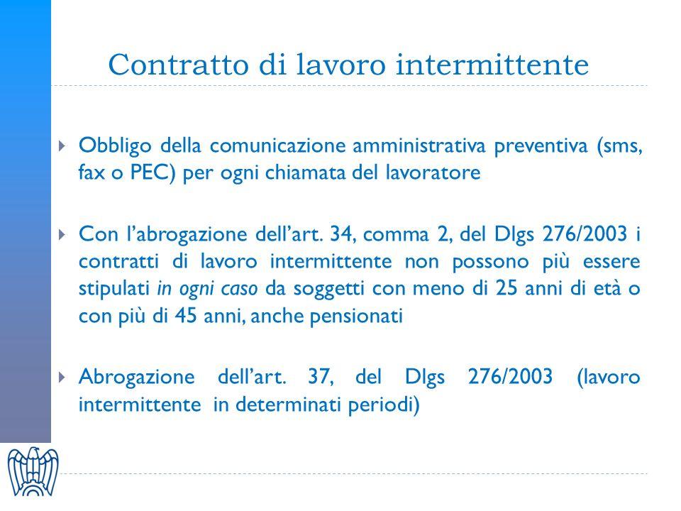 Contratto di lavoro intermittente Obbligo della comunicazione amministrativa preventiva (sms, fax o PEC) per ogni chiamata del lavoratore Con labrogazione dellart.