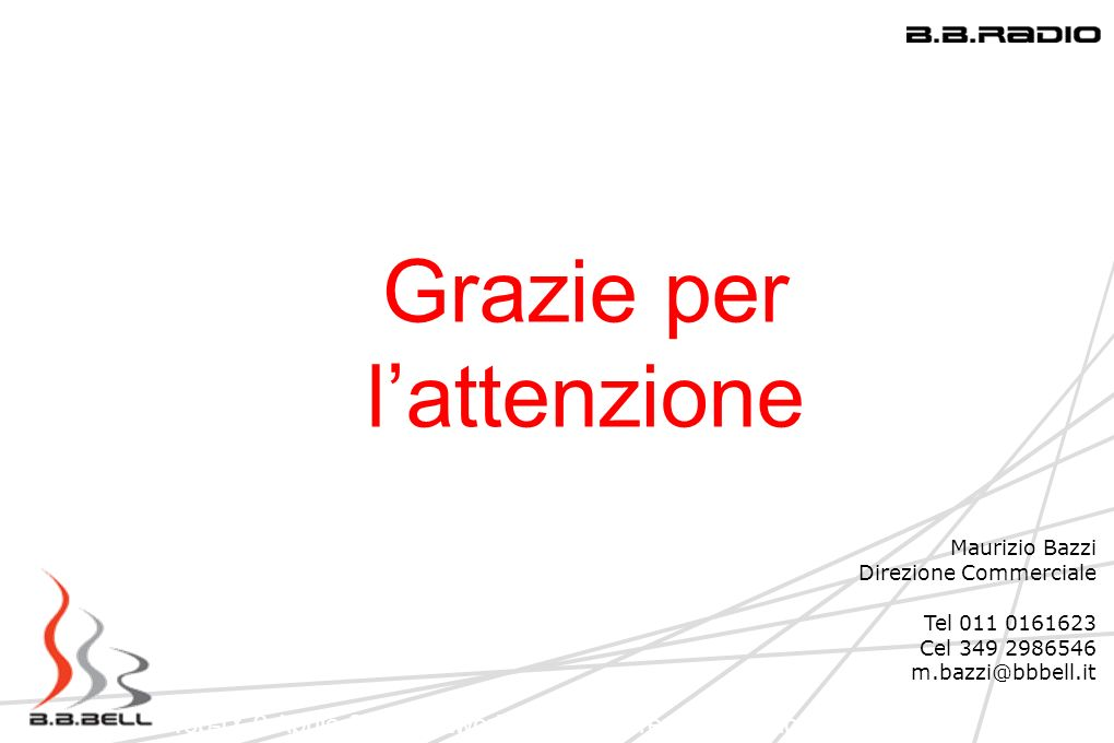 Top-IX 9 Aprile 2009 Network Infrastucture: Una regione in LAN Grazie per lattenzione Maurizio Bazzi Direzione Commerciale Tel 011 0161623 Cel 349 298