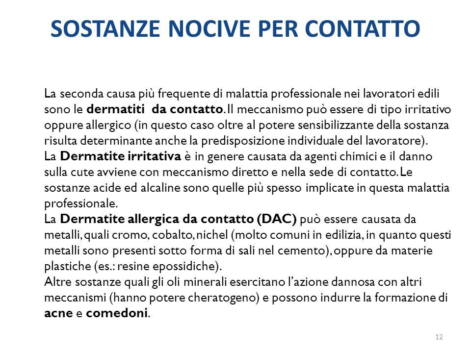 La seconda causa più frequente di malattia professionale nei lavoratori edili sono le dermatiti da contatto. Il meccanismo può essere di tipo irritati