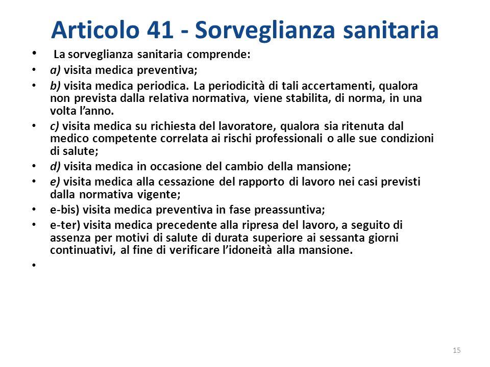 Articolo 41 - Sorveglianza sanitaria La sorveglianza sanitaria comprende: a) visita medica preventiva; b) visita medica periodica. La periodicità di t