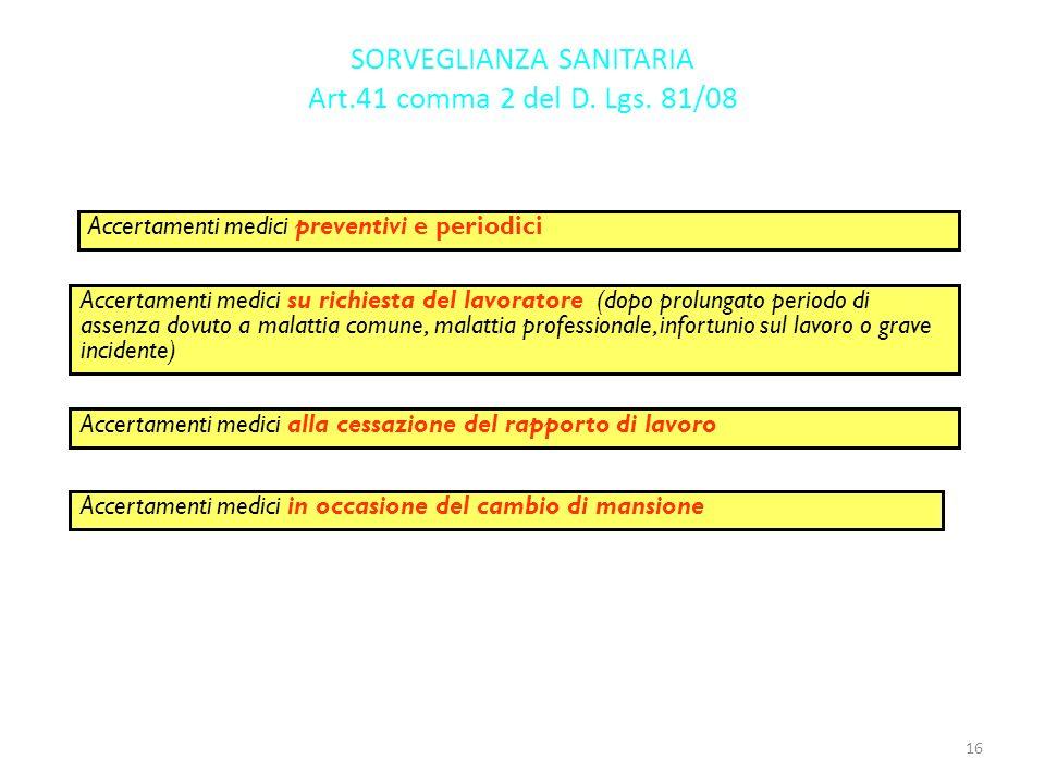 SORVEGLIANZA SANITARIA Art.41 comma 2 del D. Lgs. 81/08 Accertamenti medici preventivi e periodici Accertamenti medici su richiesta del lavoratore (do