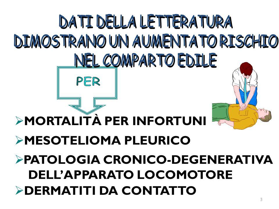 MORTALITÀ PER INFORTUNI MESOTELIOMA PLEURICO PATOLOGIA CRONICO-DEGENERATIVA DELLAPPARATO LOCOMOTORE DERMATITI DA CONTATTO 3