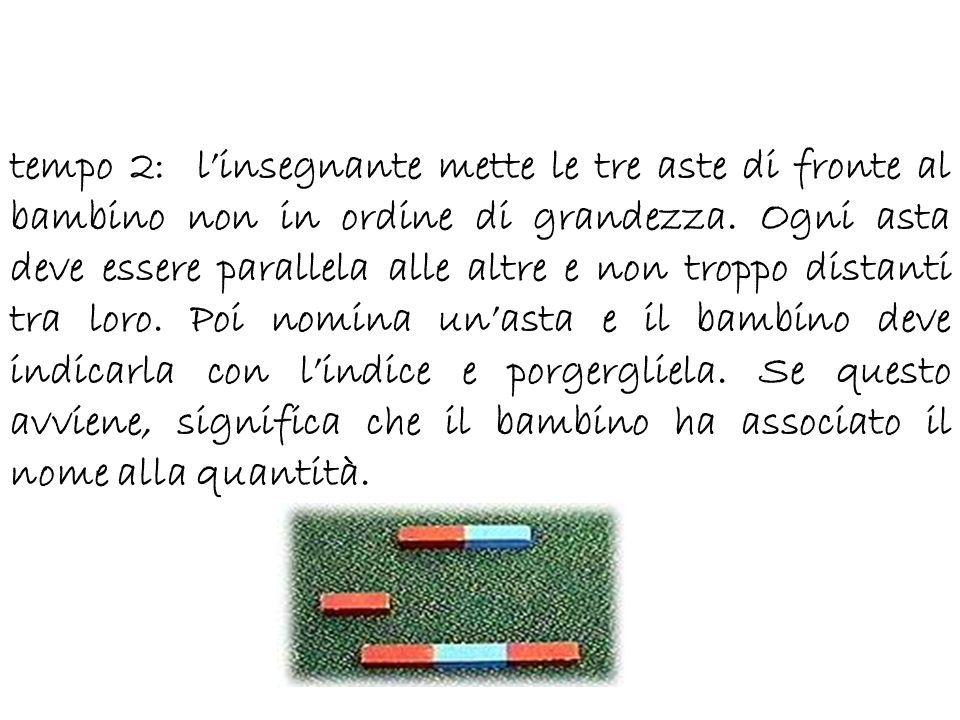 tempo 2: linsegnante mette le tre aste di fronte al bambino non in ordine di grandezza. Ogni asta deve essere parallela alle altre e non troppo distan