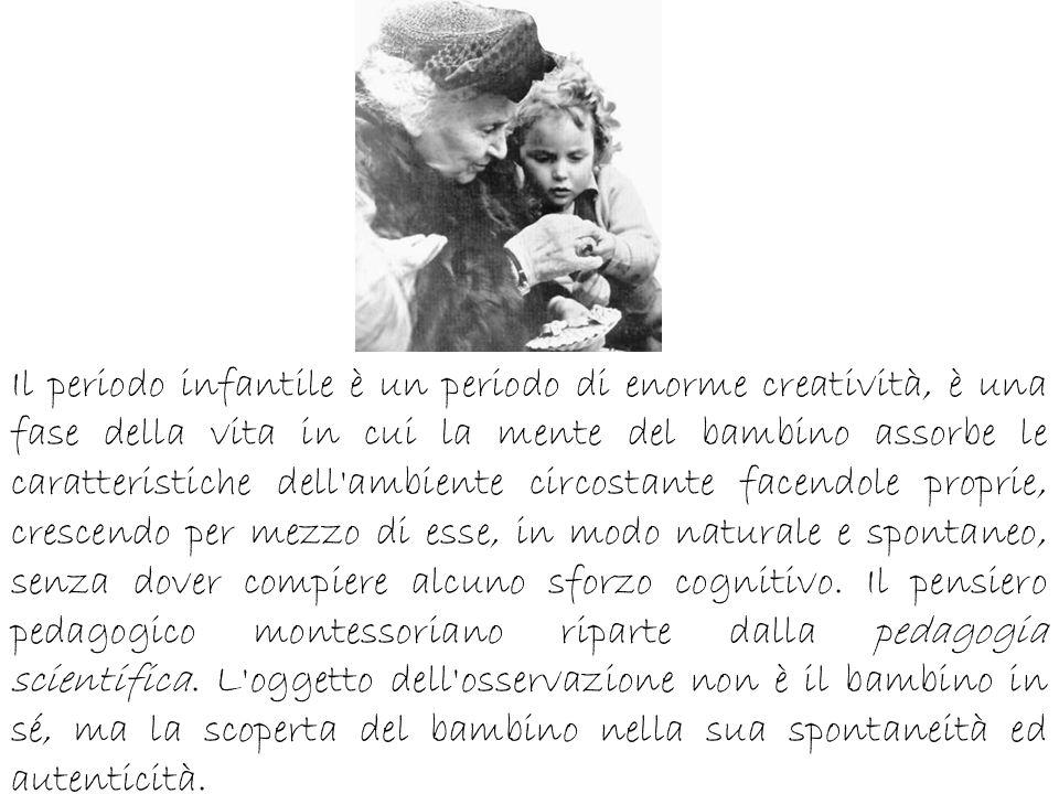 La Montessori realizza del materiale didattico specifico per l educazione sensoriale e motoria del bambino e lo suddivide in: materiale didattico analitico, incentrato su un unica qualità dell oggetto, per esempio peso, forma e dimensioni.