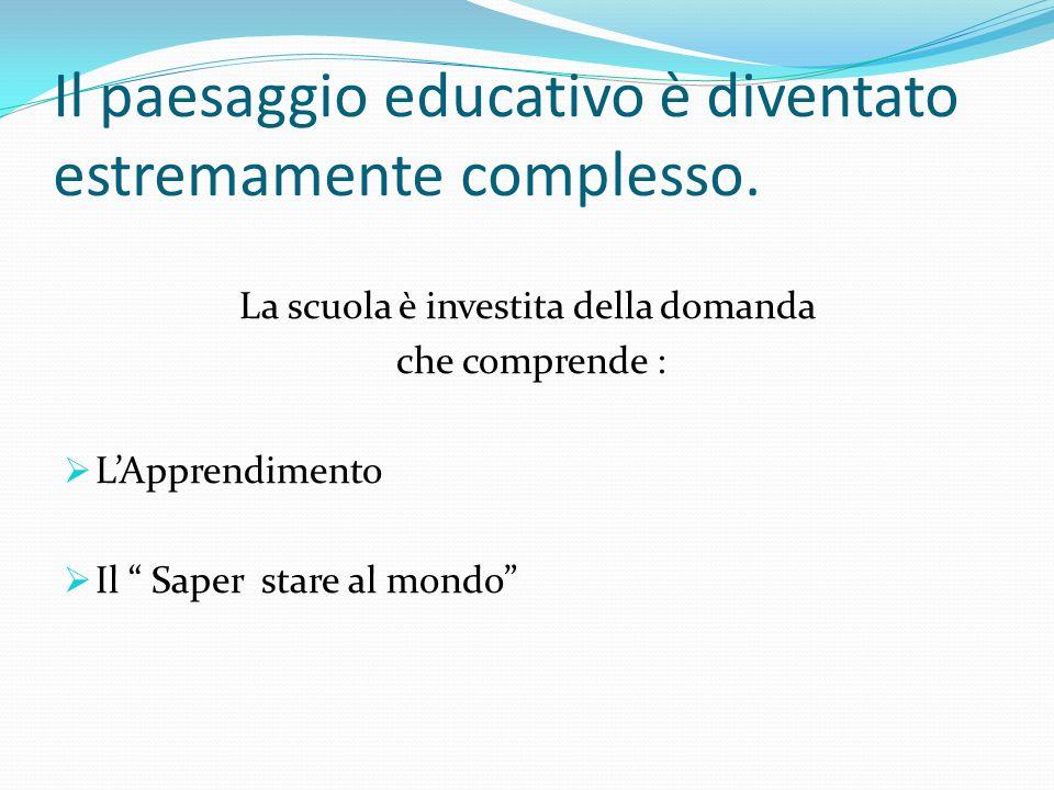 Il paesaggio educativo è diventato estremamente complesso. La scuola è investita della domanda che comprende : LApprendimento Il Saper stare al mondo
