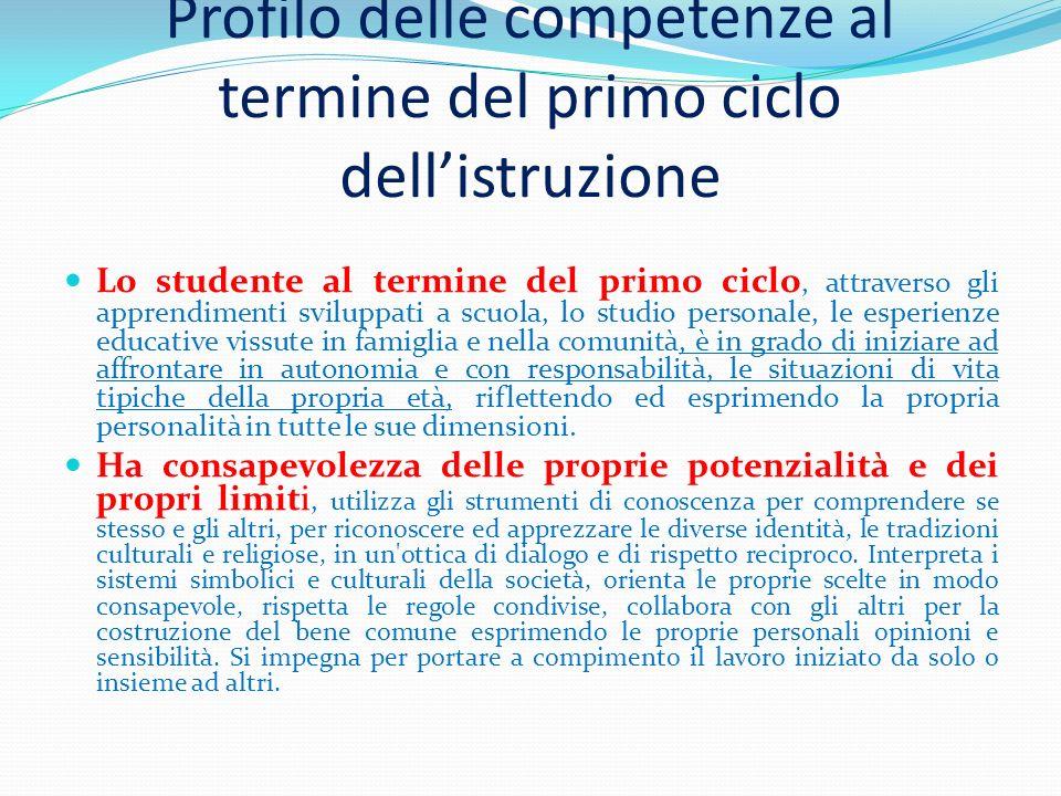 Profilo delle competenze al termine del primo ciclo dellistruzione Lo studente al termine del primo ciclo, attraverso gli apprendimenti sviluppati a s