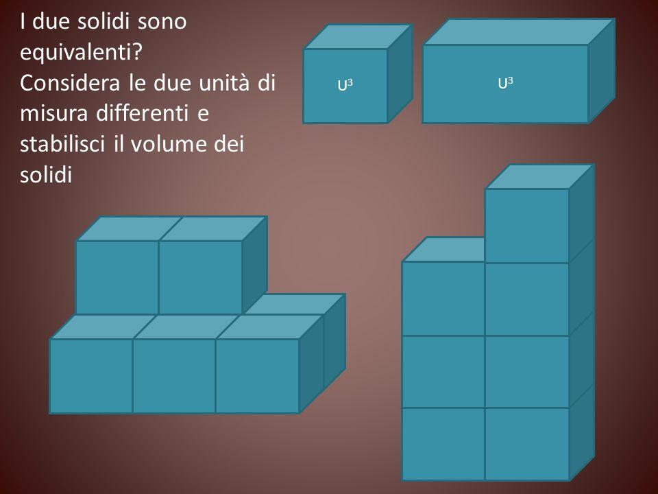 I due solidi sono equivalenti? Considera le due unità di misura differenti e stabilisci il volume dei solidi U3U3 U3U3
