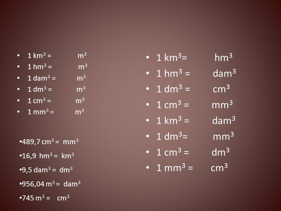 1 km 3 = m 3 1 hm 3 = m 3 1 dam 3 = m 3 1 dm 3 = m 3 1 cm 3 = m 3 1 mm 3 = m 3 1 km 3 = hm 3 1 hm 3 = dam 3 1 dm 3 = cm 3 1 cm 3 = mm 3 1 km 3 = dam 3