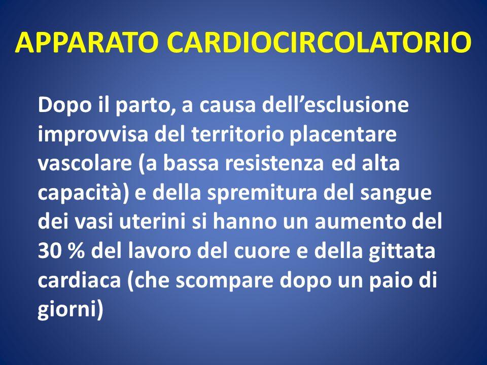 APPARATO CARDIOCIRCOLATORIO Dopo il parto, a causa dellesclusione improvvisa del territorio placentare vascolare (a bassa resistenza ed alta capacità)