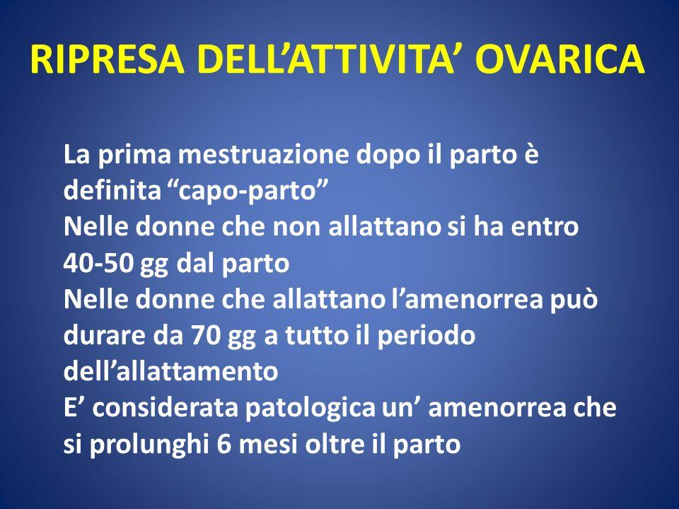 RIPRESA DELLATTIVITA OVARICA La prima mestruazione dopo il parto è definita capo-parto Nelle donne che non allattano si ha entro 40-50 gg dal parto Ne