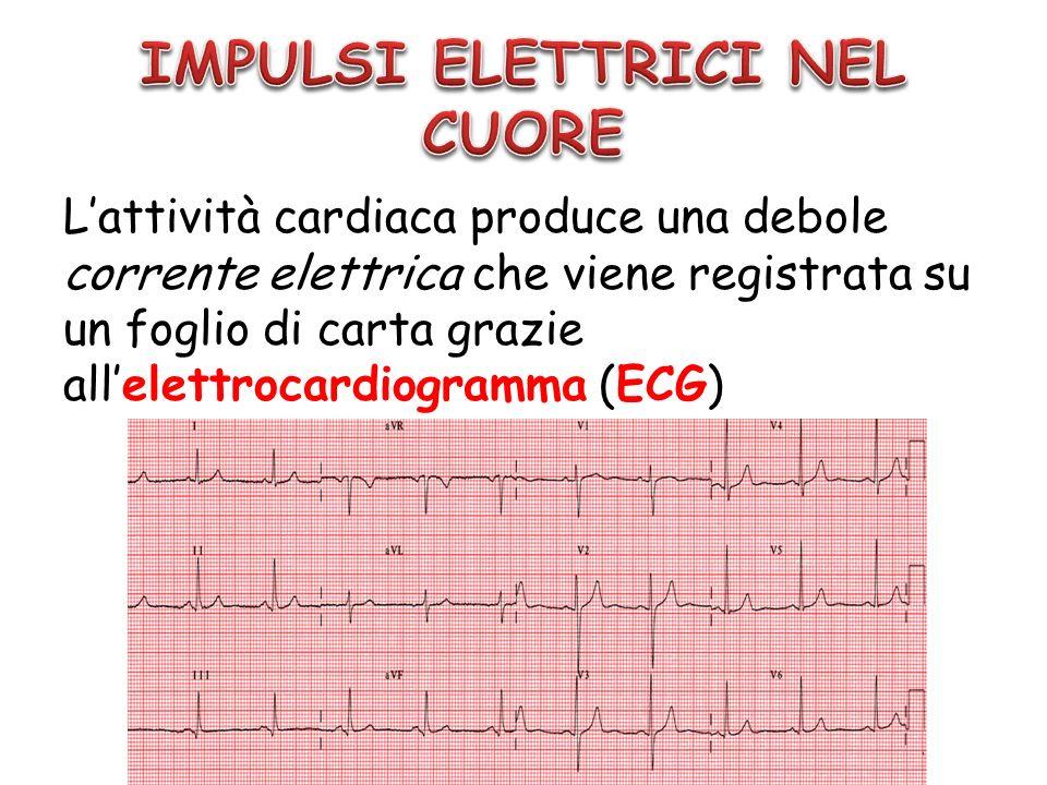Lattività cardiaca produce una debole corrente elettrica che viene registrata su un foglio di carta grazie allelettrocardiogramma (ECG)
