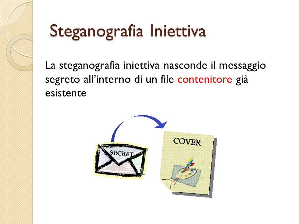 Steganografia Iniettiva La steganografia iniettiva nasconde il messaggio segreto allinterno di un file contenitore già esistente