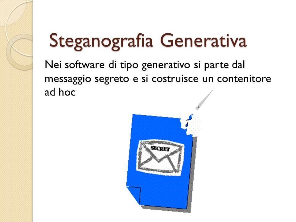 Steganografia Generativa Nei software di tipo generativo si parte dal messaggio segreto e si costruisce un contenitore ad hoc