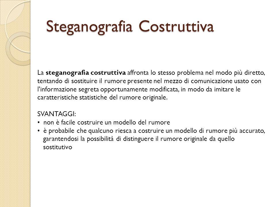 Steganografia Costruttiva La steganografia costruttiva affronta lo stesso problema nel modo più diretto, tentando di sostituire il rumore presente nel