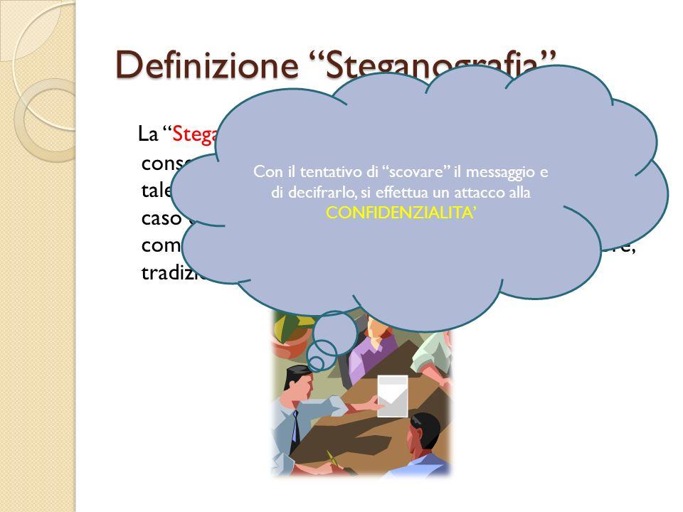 Definizione Steganografia La Steganografia è l'insieme delle tecniche che consente a due o più persone di comunicare in modo tale da nascondere non ta