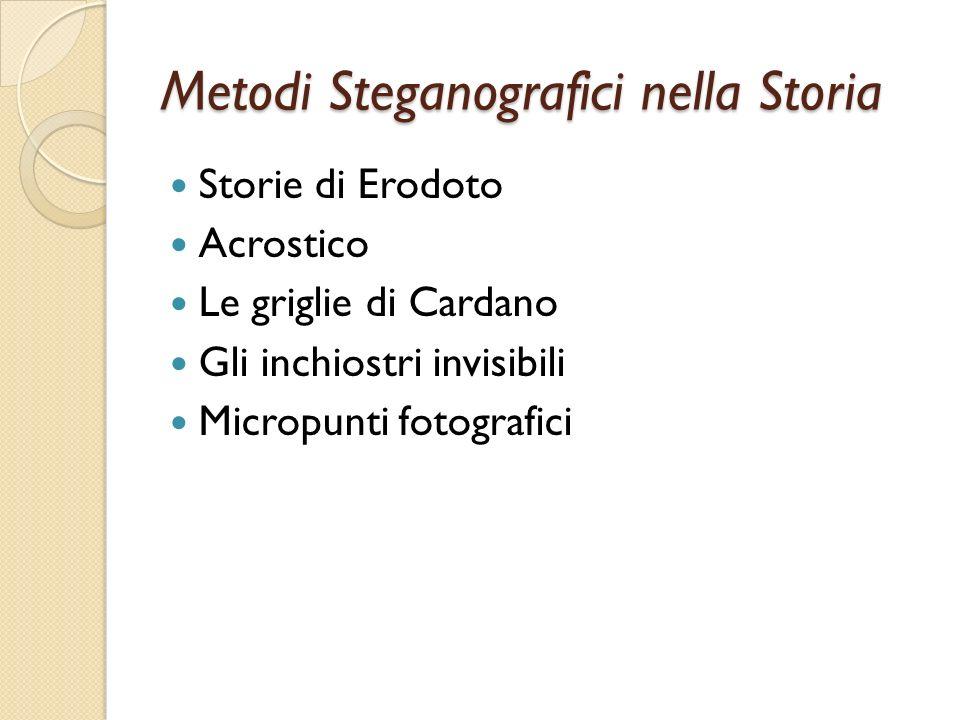 Metodi Steganografici nella Storia Storie di Erodoto Acrostico Le griglie di Cardano Gli inchiostri invisibili Micropunti fotografici