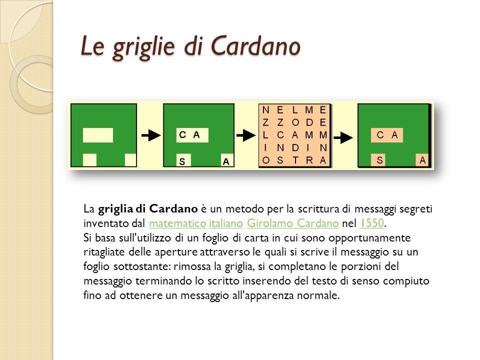 Le griglie di Cardano La griglia di Cardano è un metodo per la scrittura di messaggi segreti inventato dal matematico italiano Girolamo Cardano nel 15