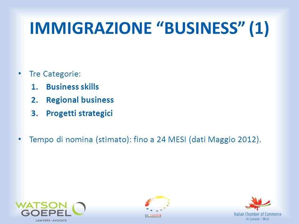 IMMIGRAZIONE BUSINESS (1) Tre Categorie: 1.Business skills 2.Regional business 3.Progetti strategici Tempo di nomina (stimato): fino a 24 MESI (dati Maggio 2012).