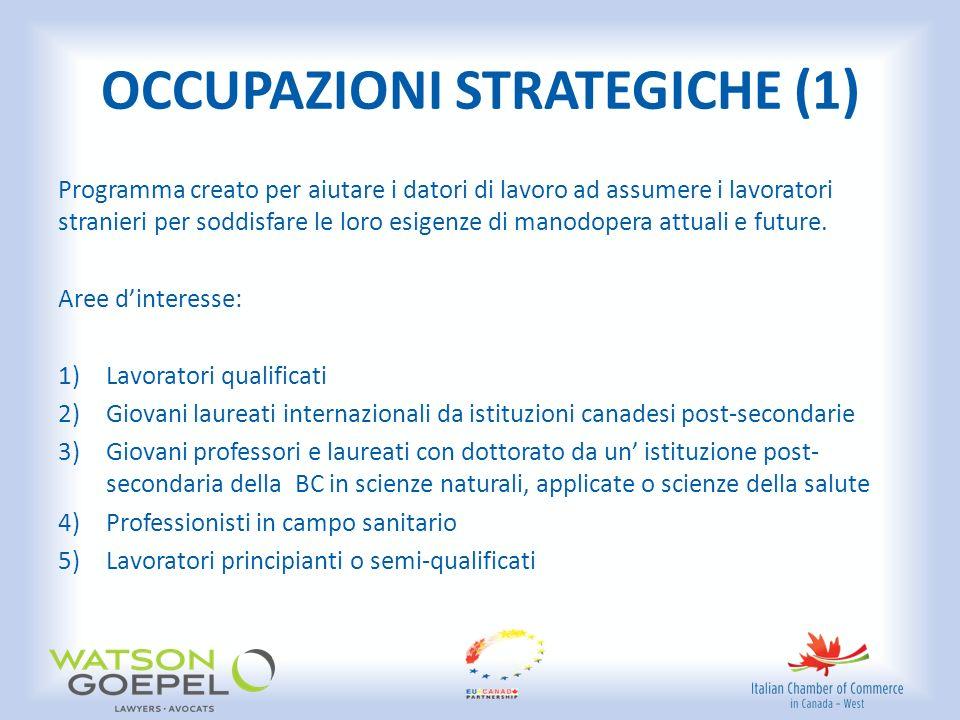 OCCUPAZIONI STRATEGICHE (1) Programma creato per aiutare i datori di lavoro ad assumere i lavoratori stranieri per soddisfare le loro esigenze di manodopera attuali e future.