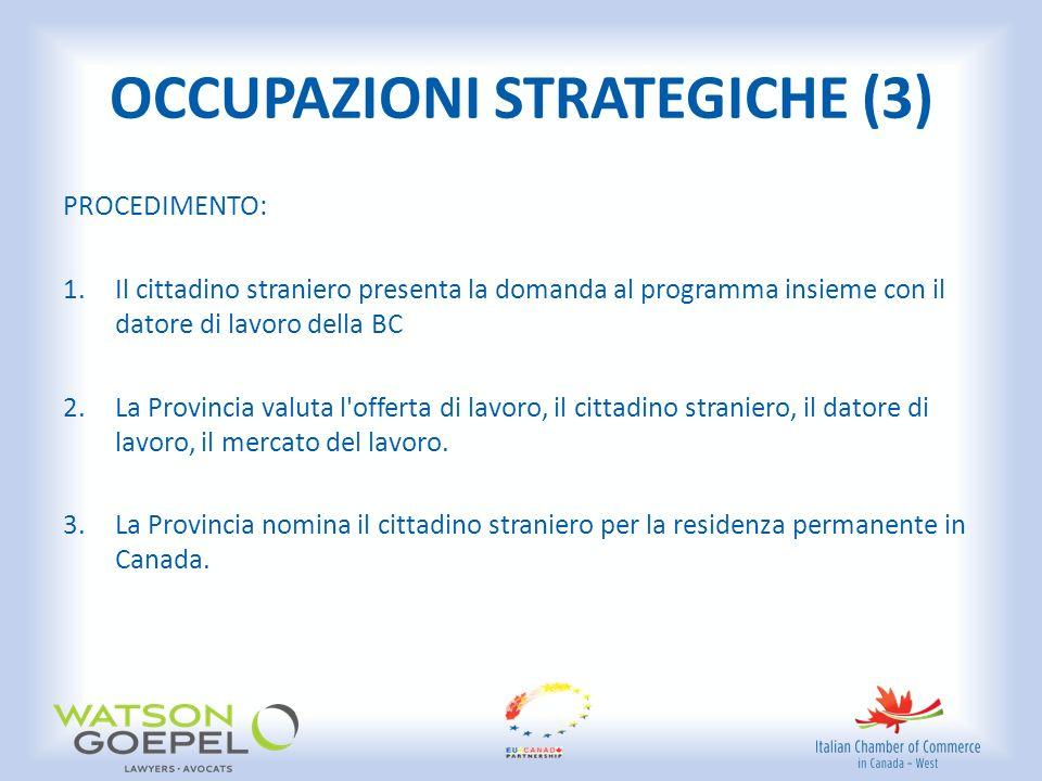 OCCUPAZIONI STRATEGICHE (3) PROCEDIMENTO: 1.Il cittadino straniero presenta la domanda al programma insieme con il datore di lavoro della BC 2.La Provincia valuta l offerta di lavoro, il cittadino straniero, il datore di lavoro, il mercato del lavoro.