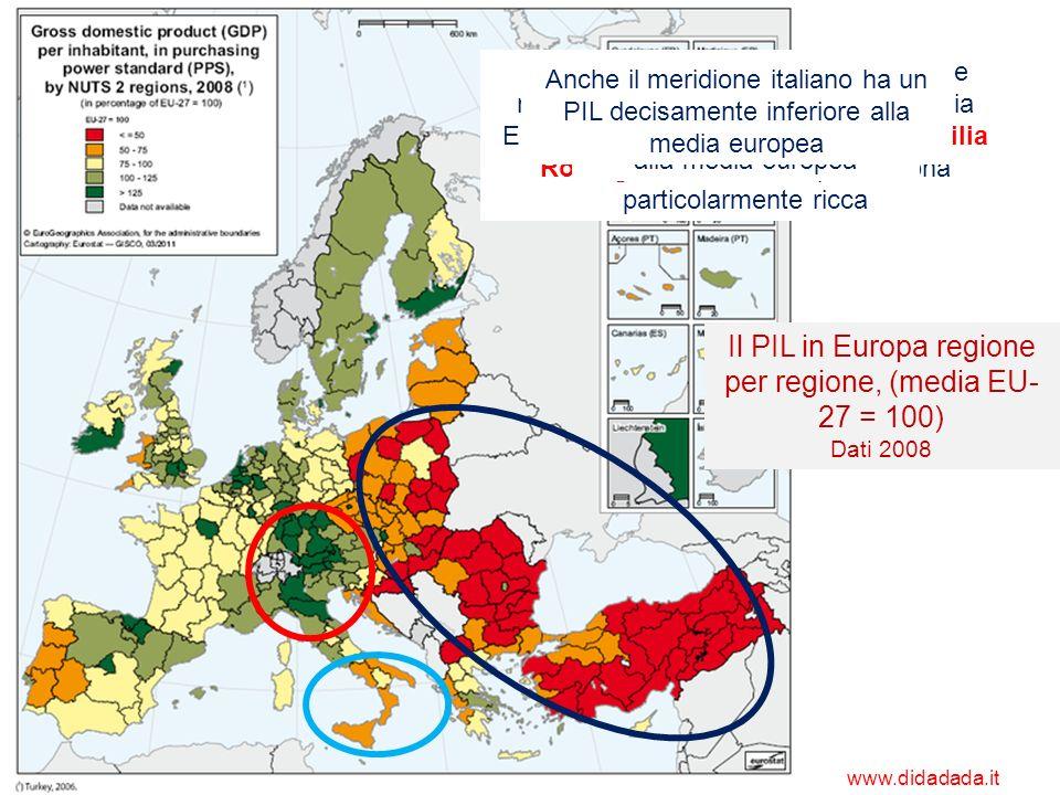 Il PIL in Europa regione per regione, (media EU- 27 = 100) Dati 2008 NellEuropa centrale si concentrano le regioni con un PIL superiore alla media Eur
