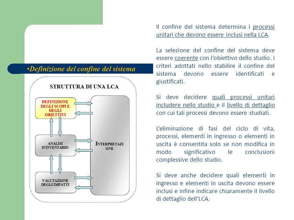 Il confine del sistema determina i processi unitari che devono essere inclusi nella LCA. La selezione del confine del sistema deve essere coerente con