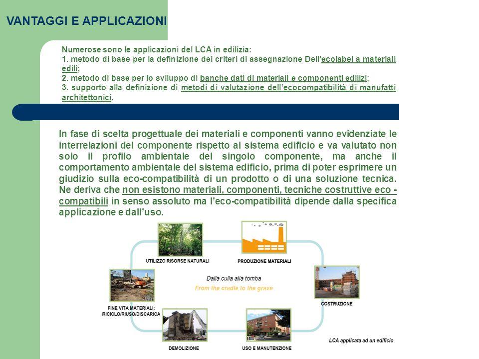 VANTAGGI E APPLICAZIONI Numerose sono le applicazioni del LCA in edilizia: 1. metodo di base per la definizione dei criteri di assegnazione Dellecolab