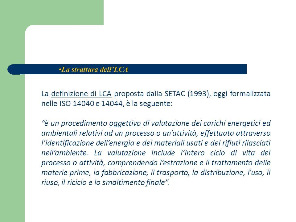 La definizione di LCA proposta dalla SETAC (1993), oggi formalizzata nelle ISO 14040 e 14044, è la seguente: è un procedimento oggettivo di valutazion