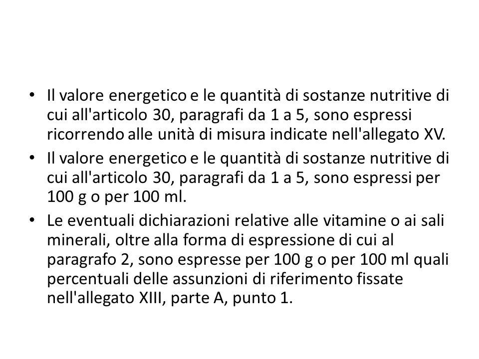 Il valore energetico e le quantità di sostanze nutritive di cui all articolo 30, paragrafi da 1 a 5, sono espressi ricorrendo alle unità di misura indicate nell allegato XV.