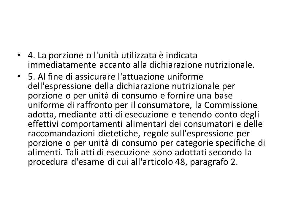 4. La porzione o l'unità utilizzata è indicata immediatamente accanto alla dichiarazione nutrizionale. 5. Al fine di assicurare l'attuazione uniforme
