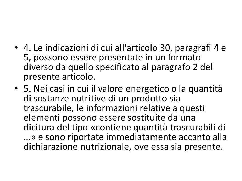 4. Le indicazioni di cui all'articolo 30, paragrafi 4 e 5, possono essere presentate in un formato diverso da quello specificato al paragrafo 2 del pr