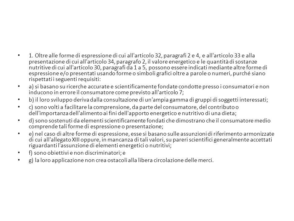 1. Oltre alle forme di espressione di cui all'articolo 32, paragrafi 2 e 4, e all'articolo 33 e alla presentazione di cui all'articolo 34, paragrafo 2