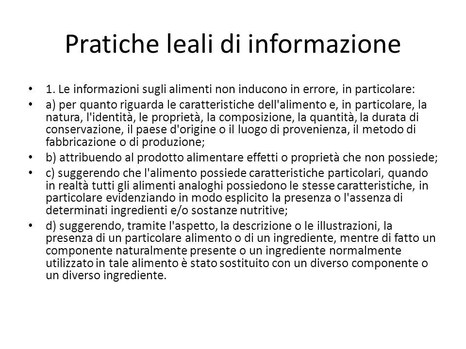 Pratiche leali di informazione 1.