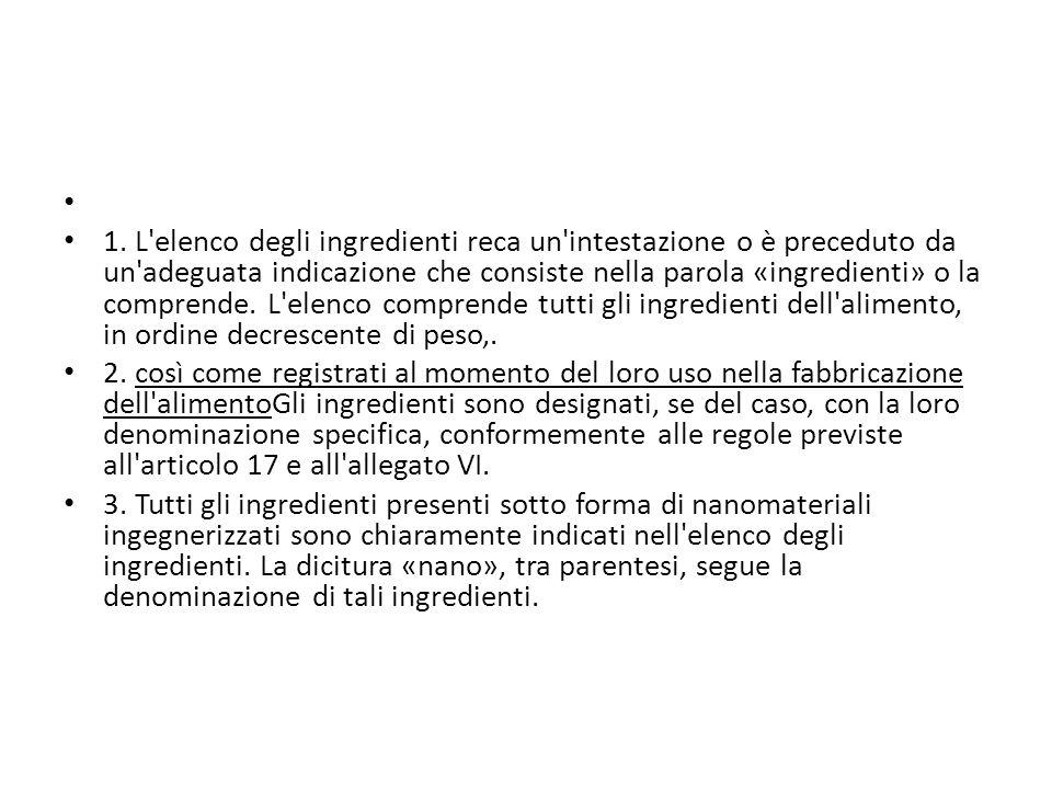 1. L'elenco degli ingredienti reca un'intestazione o è preceduto da un'adeguata indicazione che consiste nella parola «ingredienti» o la comprende. L'
