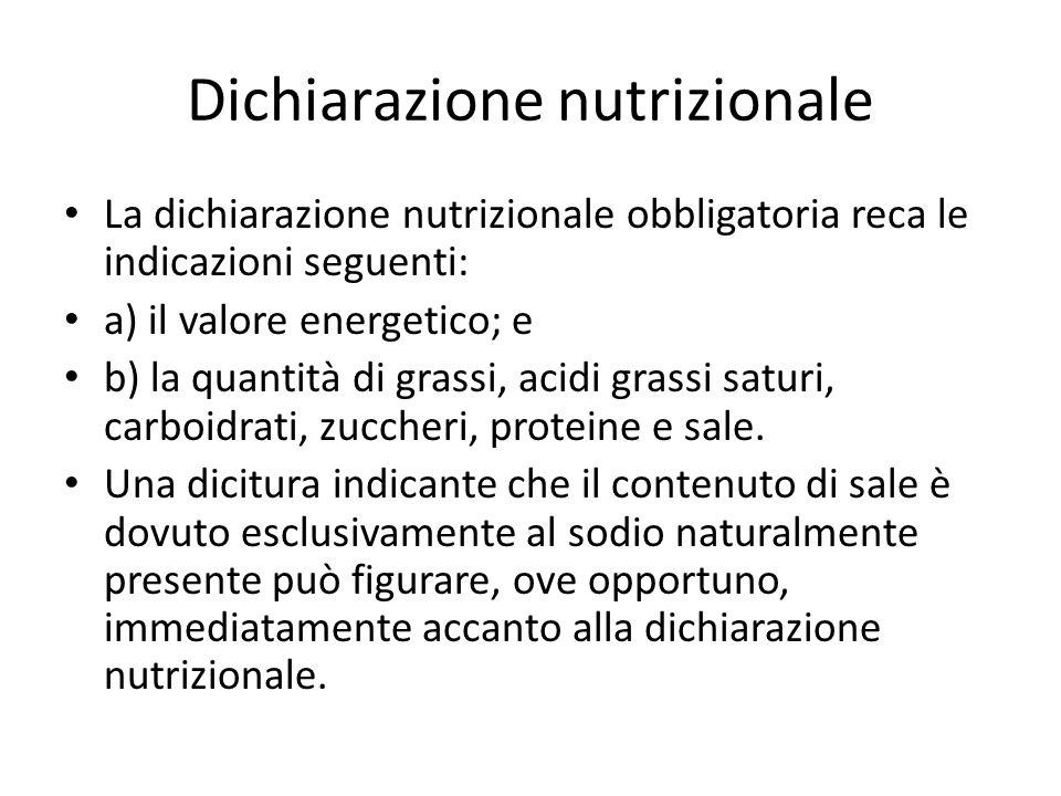 Dichiarazione nutrizionale La dichiarazione nutrizionale obbligatoria reca le indicazioni seguenti: a) il valore energetico; e b) la quantità di grassi, acidi grassi saturi, carboidrati, zuccheri, proteine e sale.