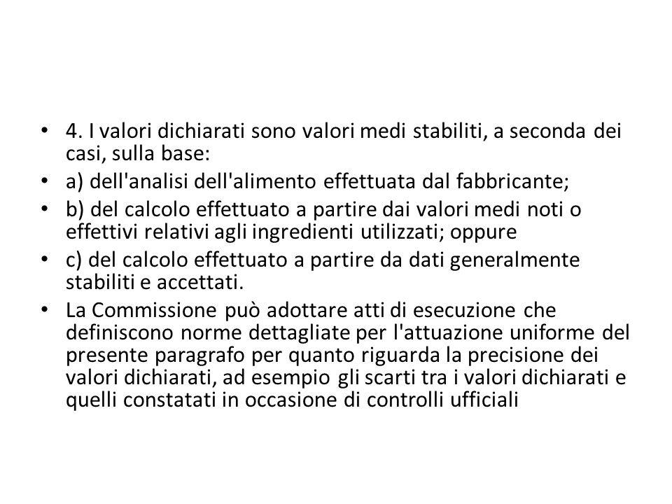 4. I valori dichiarati sono valori medi stabiliti, a seconda dei casi, sulla base: a) dell'analisi dell'alimento effettuata dal fabbricante; b) del ca
