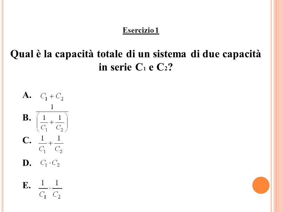 Esercizio 1 Qual è la capacità totale di un sistema di due capacità in serie C 1 e C 2 ? A. B. C. D. E.