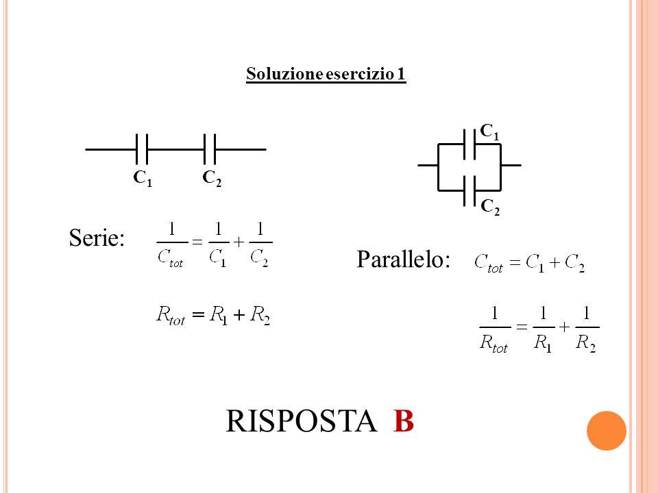 Soluzione esercizio 1 C 1 C 2 C1C1 C2C2 Serie: Parallelo: RISPOSTA B